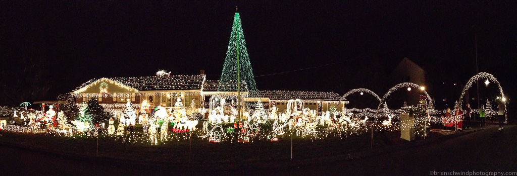 Extravagantly-lit Christmas lights home in Bethlehem that was the destination for the Friday Night Lights run by the Aardvark Running Store.