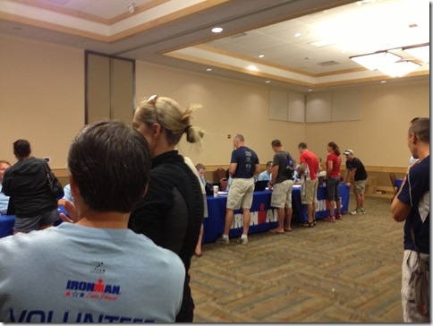 Waiting in line to register for the 2014 Ironman Lake Placid
