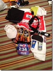 Run gear bag contents