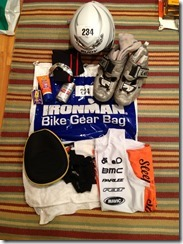 Bike gear bag contents-I ended up wearing the tri top under wetsuit.