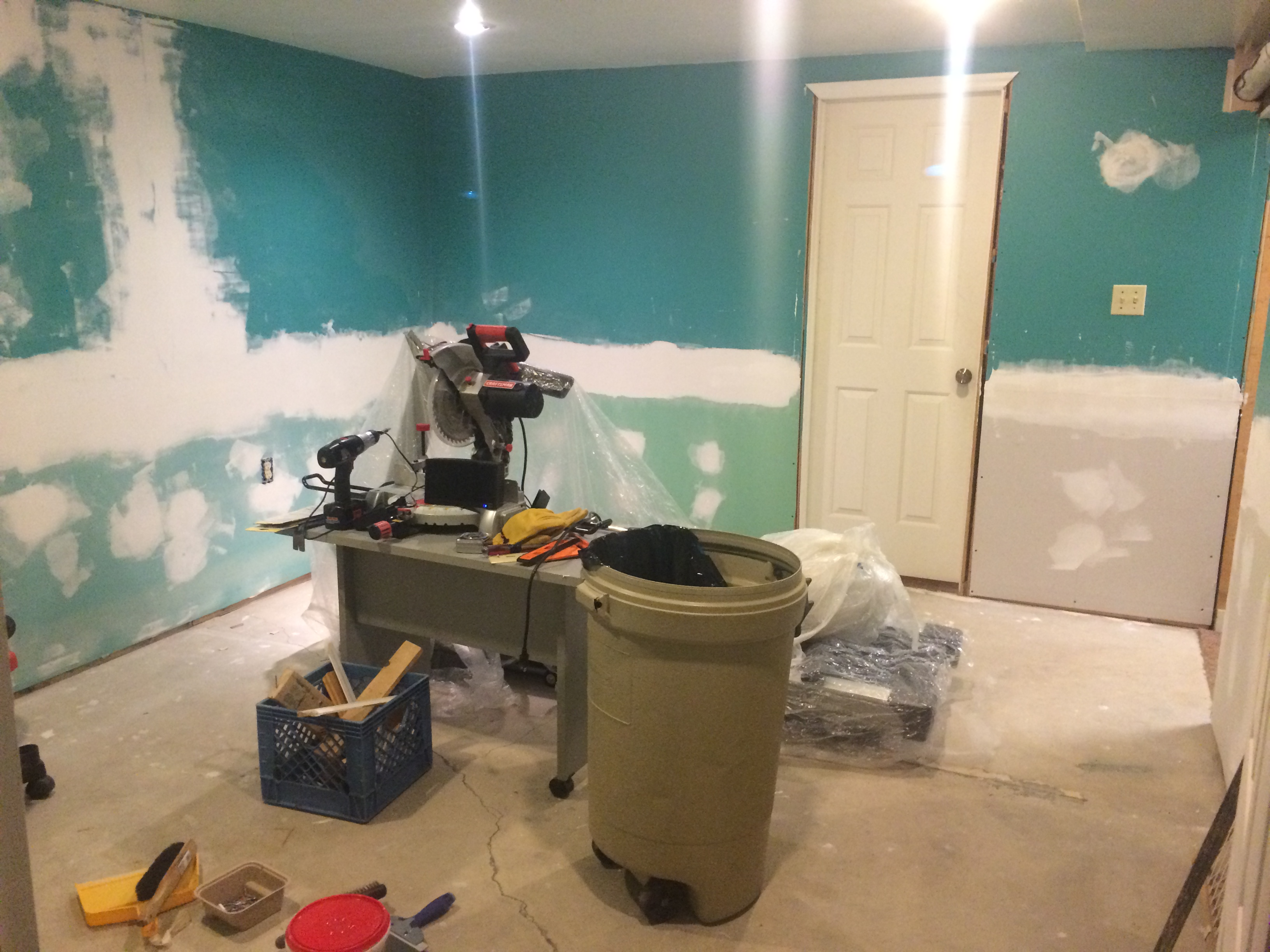 Pain Cave Remodel - Drywalled and sanded 2