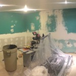 Pain Cave Remodel - Drywalled and sanded 1, green room