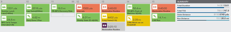 Training Peaks Training Calendar Week of 3/9/2015