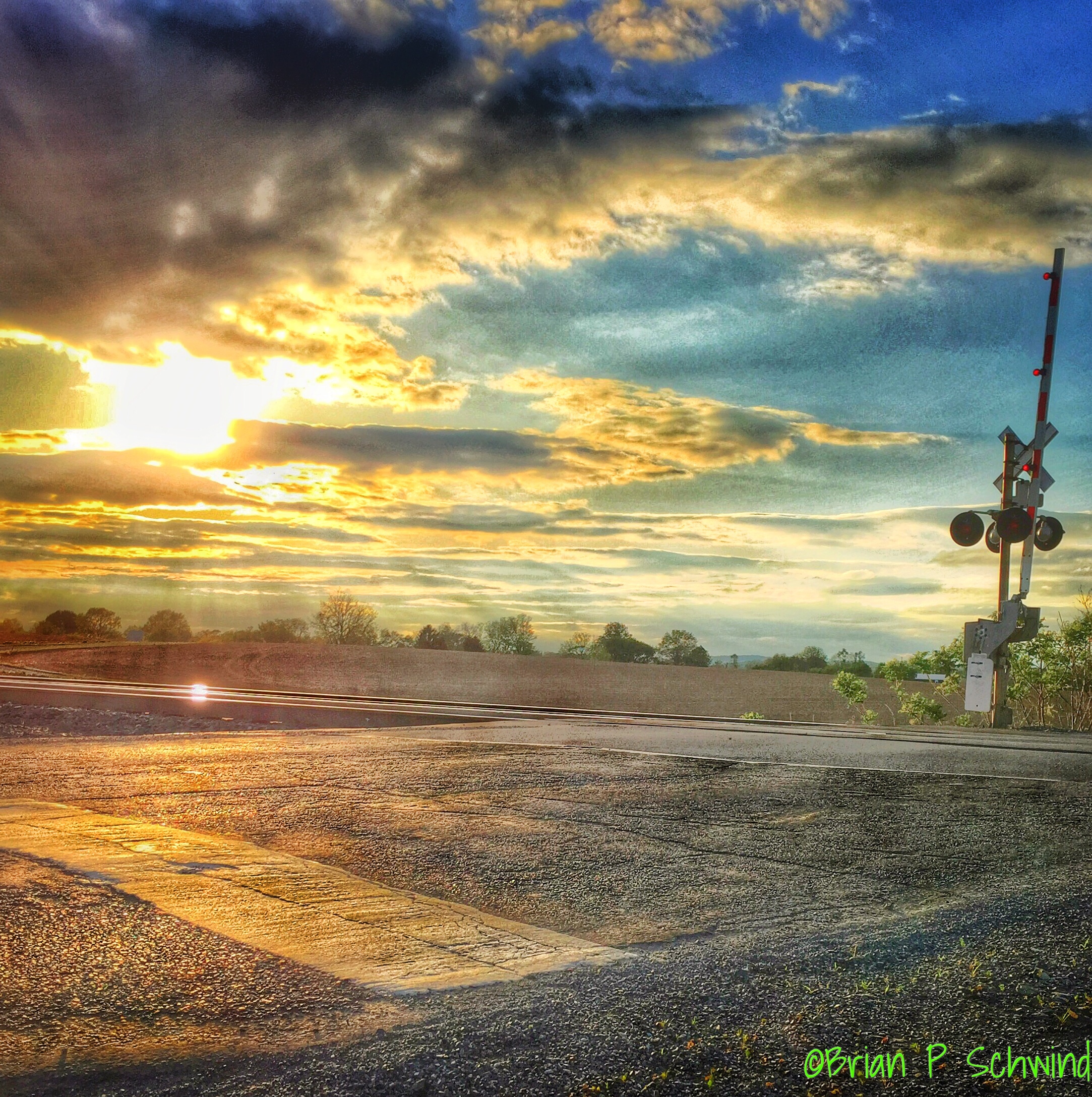 Sunset on the Railroad Crossing