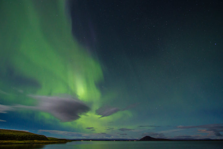 Europe, Iceland, Lake Myvatn., Travel, aurora borealis, northern lights
